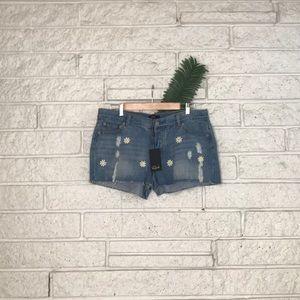 Rails Daisy Patch Raw Hem Jean Shorts